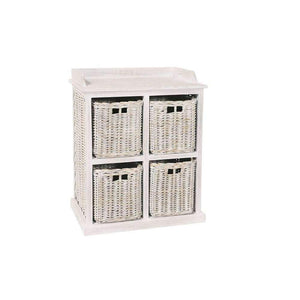 Furnish Our Home:Beco Living Mei Rattan - White Wash Large Storage Unit 2 over 2 Baskets