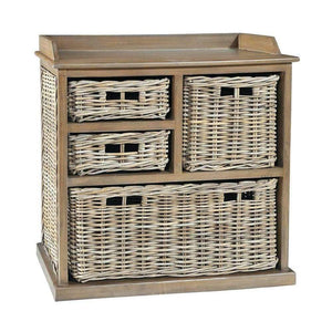 Furnish Our Home:Beco Living Mei Rattan - Grey Wash Large Storage Unit 3 over 1 Basket