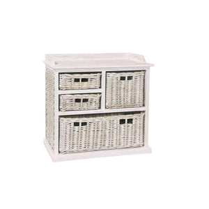 Furnish Our Home:Beco Living Mei Rattan - White Wash Large Storage Unit 3 over 1 Basket
