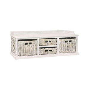 Furnish Our Home:Beco Living Mei Rattan - White Wash Long Low Storage Unit 2 Large 2 Small Baskets