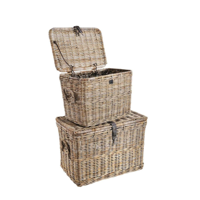 Rowico Maya Rattan - Grey Wash Log Baskets set of 2