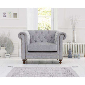 Furnish Our Home:Mark Harris Montrose Grey Fabric Armchair With Dark Ash Wood Legs