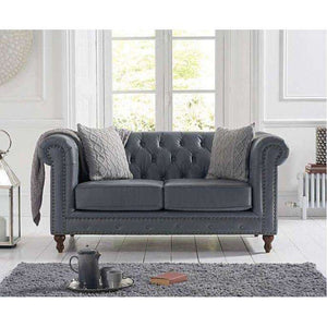Furnish Our Home:Mark Harris Montrose Grey Leather 2 Seater Sofa