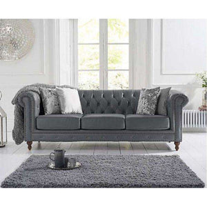 Furnish Our Home:Mark Harris Montrose Grey Leather 3 Seater Sofa