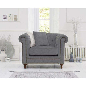 Furnish Our Home:Mark Harris Montrose Grey Linen Fabric Armchair With Dark Ash Wood Legs
