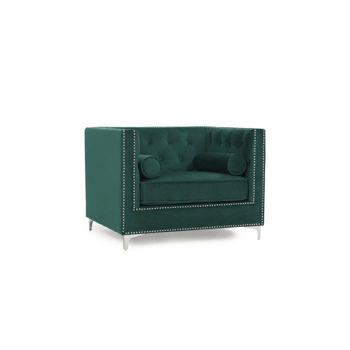 Mark Harris New England Armchair Green Velvet