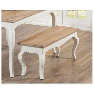 Furnish Our Home:Mark Harris Sienna Ivory White Small Bench (Use With 130cm Table)