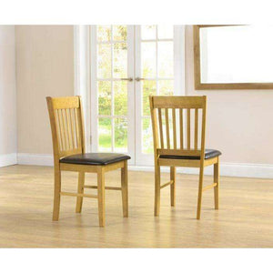 Furnish Our Home:Mark Harris Alaska Solid Hardwood Dining Chairs With Brown Pu Seat (Pair)