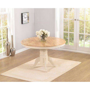 Furnish Our Home:Mark Harris Elstree Solid Hardwood & Painted 120cm Round Dining Table - Oak & Cream