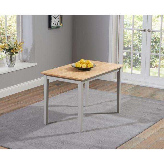 Mark Harris Chichester Solid Hardwood & Painted 115cm Dining Table - Oak & Grey
