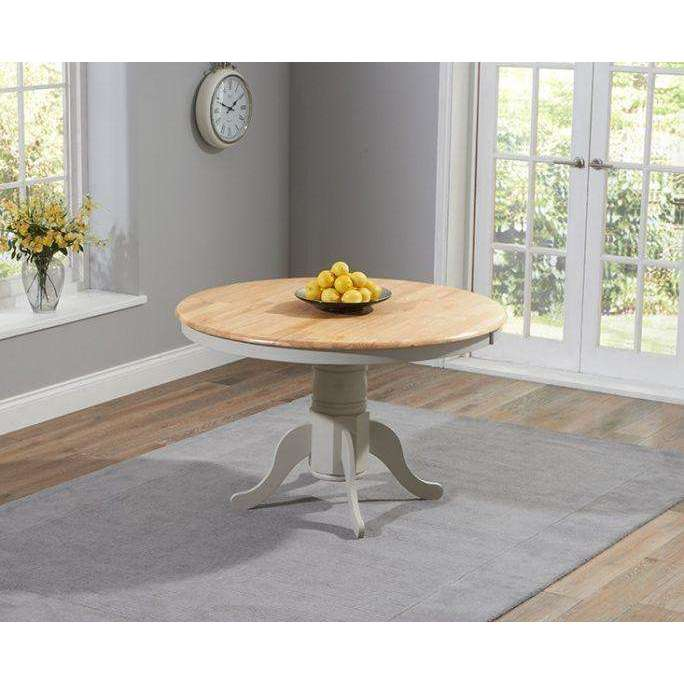 Mark Harris Elstree Solid Hardwood & Painted 120cm Round Dining Table - Oak & Grey