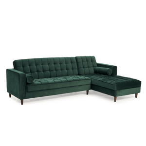 Furnish Our Home:Mark Harris Anneliese Green Velvet Right Facing Chaise Sofa