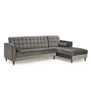 Furnish Our Home:Mark Harris Anneliese Grey Velvet Right Facing Chaise Sofa