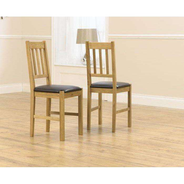 Mark Harris Promo Solid Oak Dining Chair With Brown Pu Seat (Pair)