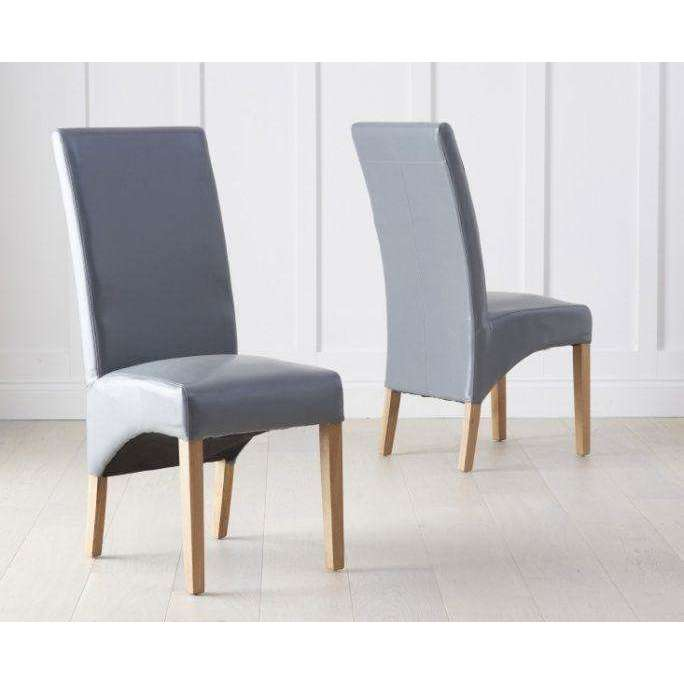 Mark Harris Roma Grey Bycast Leather Chairs (Pair)