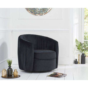 Furnish Our Home:Mark Harris Sarana Black Velvet Swivel Chair