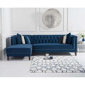 Furnish Our Home:Mark Harris Tino Blue Velvet Left Facing Chaise Sofa