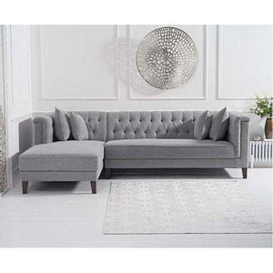 Furnish Our Home:Mark Harris Tino Grey Linen Left Facing Chaise Sofa