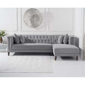 Furnish Our Home:Mark Harris Tino Grey Linen Right Facing Chaise Sofa