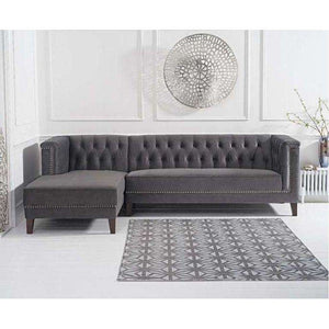 Furnish Our Home:Mark Harris Tino Grey Velvet Left Facing Chaise Sofa