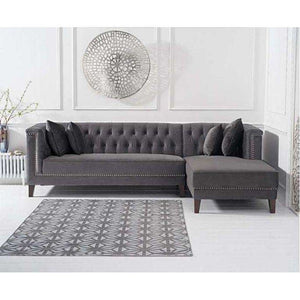 Furnish Our Home:Mark Harris Tino Grey Velvet Right Facing Chaise Sofa