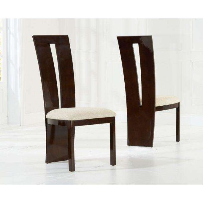 Mark Harris Valencie Brown Solid Wood And High Gloss Dining Chairs (Pair)