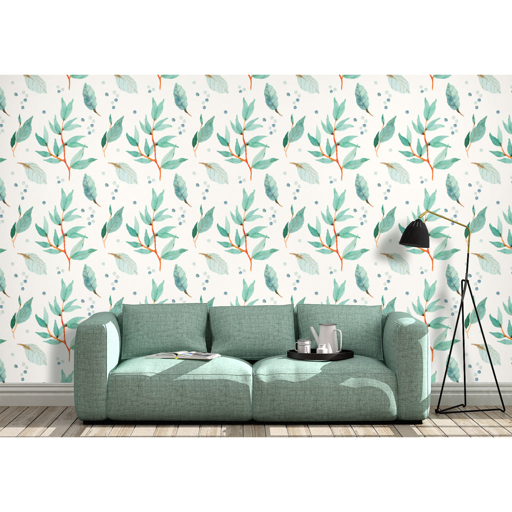 Leave Leaf Ferns Trail Tree Branches Botanical Spring Border Self Adhesive Hand Drawn Watercolor Peel and Stick Removable Wallpaper WW010