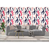Self Adhesive Hand Drawn Floral Abstract Red Blue Removable Wallpaper WW011