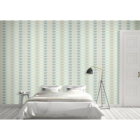 Petal Blue Brown Art Deco Costal NY Atlantic Pacific Chevron Pattern Self Adhesive Hand Drawn Removable Wallpaper WW012