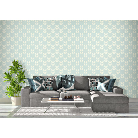 Self Adhesive Hand Drawn Chevron Petal Blue Removable Wallpaper WW013