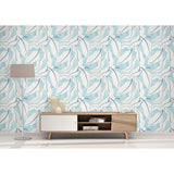 Self Adhesive Hand Drawn Floral Blue White Removable Wallpaper WW015