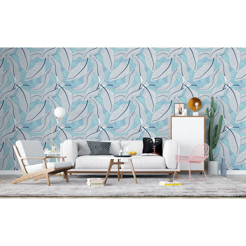 Floral Blue White Tropical Fun Palm Leaves Banana Leaf Blue White Floral WallaWall Deco Self Adhesive Hand Drawn Removable Wallpaper WW015
