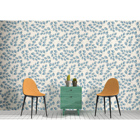 Soft Elegant Leaves Blue Tree White Floral Peel and Stick Wall Sticker Wall Decoration Self Adhesive Hand Drawn Removable Wallpaper WW016