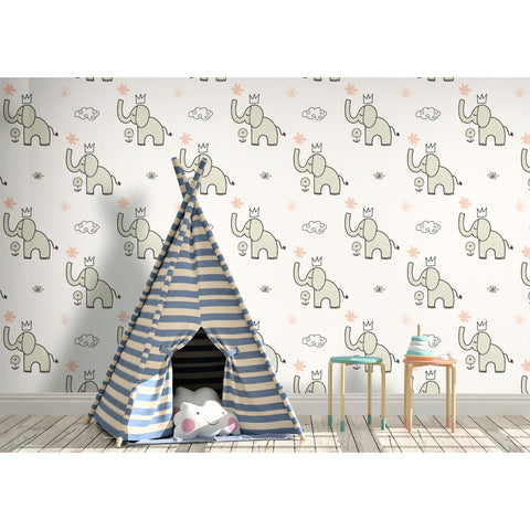 Elephant King Animal Kingdom Neutral Nursery Coastal Kid Sweet Dreams Self Adhesive Hand Drawn Removable Wallpaper WW017