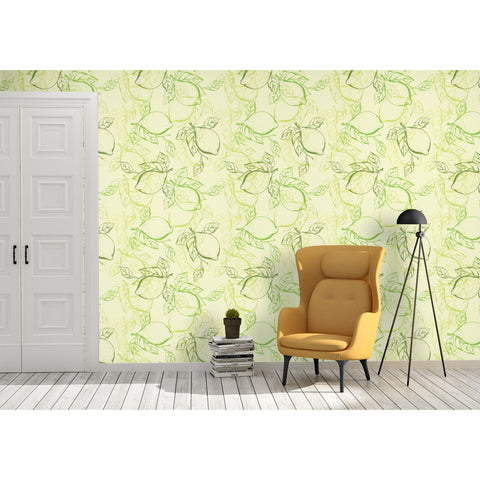 Lemon Pie Lime Light Vegetable Salad Leaf Leaves Papel Tapiz Mojito Coast Coastal Self Adhesive Hand Drawn  Removable Wallpaper WW023