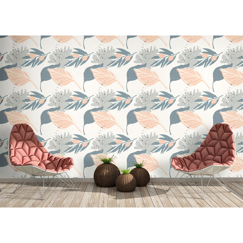 Cream Pink Grey Leaves Leaf Deco Vibe Fresh Botanical Coastal Nature Vegan Self Adhesive Hand Drawn Removable Wallpaper WW025