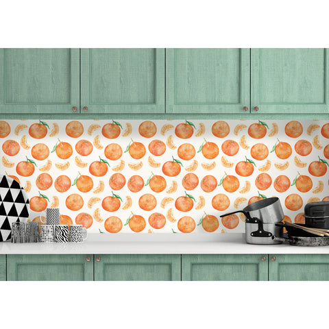 Self Adhesive Hand Drawn Orange Clementine Removable Wallpaper WW027