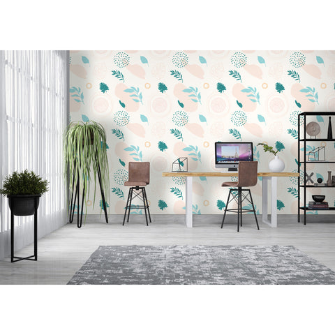 Pastel Bright Leaves Leaf Deco Coast Tropical Flowers Floral Peel and Stick Self Adhesive Hand Drawn Removable Wallpaper WW028