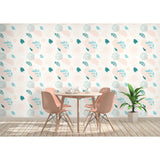 Self Adhesive Hand Drawn Pastel Bright Leaves Removable Wallpaper WW028
