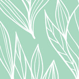 Light Turquoise Leaves Tropical  Aqua Tropical Bali Floral Peel and Stick Self Adhesive Hand Drawn Removable Wallpaper WW002