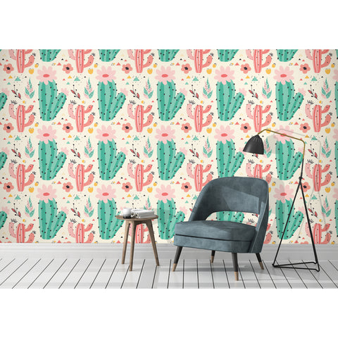 Desert Colors Cactus Mexico Sand Spines Modern Pattern Wall Mural Botanical Confetti Self Adhesive Hand Drawn Removable Wallpaper WW030