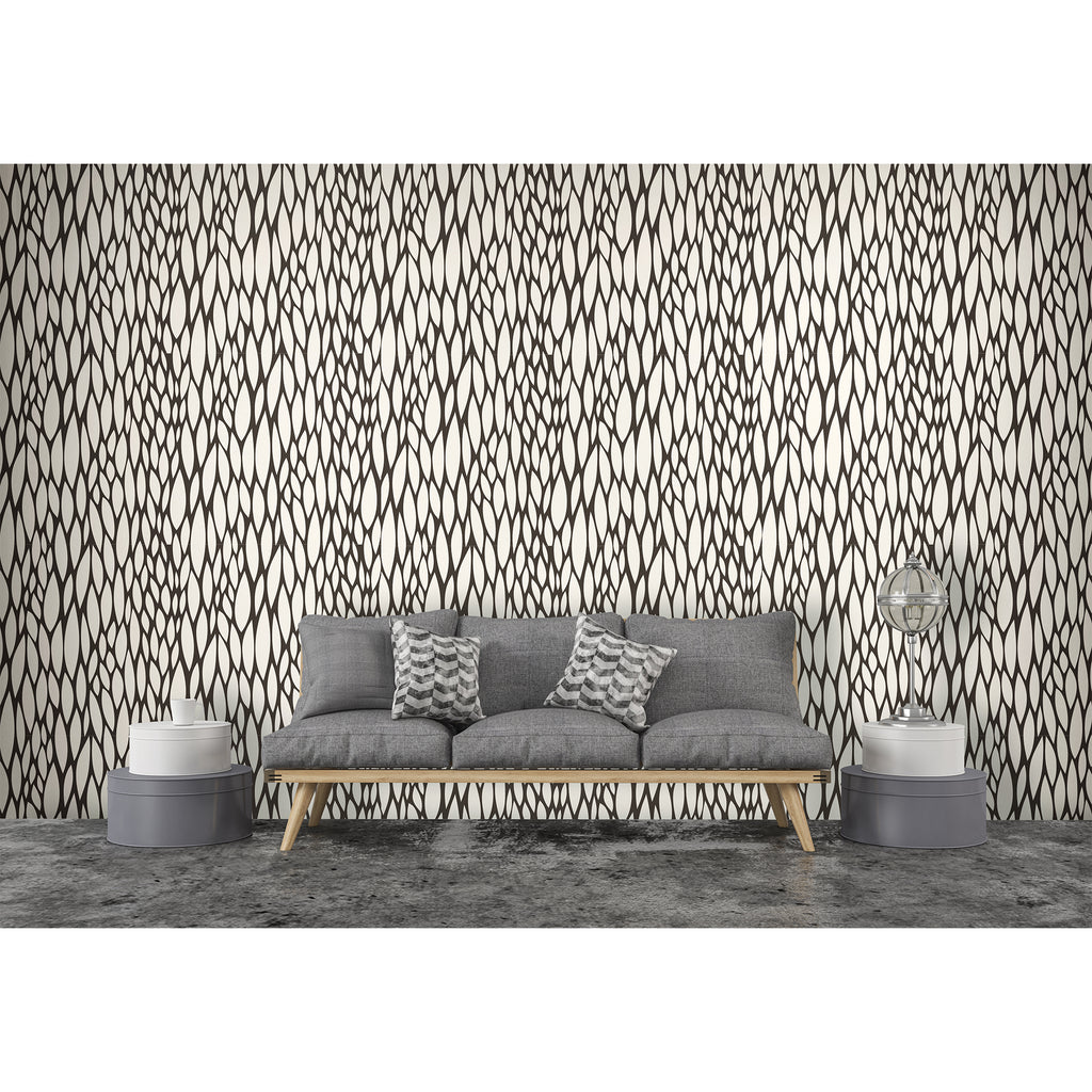 Abstract Geometric Leaves Black Self Adhesive Hand Drawn Peel and Stick Matte Vinyl Wall Paper Removable Wallpaper Decor WW032
