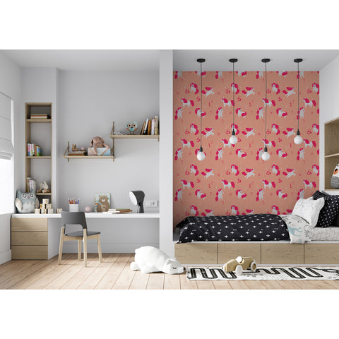 Self Adhesive Hand Drawn Pony Dreams Pink Girl Removable Wallpaper WW034