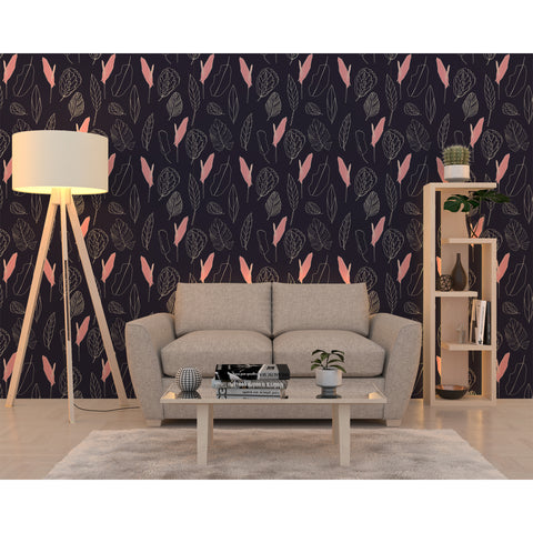 Self Adhesive Hand Drawn Dark Leaf Dreams Pink Removable Wallpaper WW035