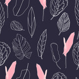 Dark Leaf Dreams Pink Peony Flower Peonies Floral Art Deco Scandinavian Twist Washable Self Adhesive Hand Drawn Removable Wallpaper WW035