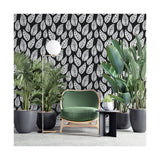 Black Botanical Leaf Leaves Natural Forest Kingdom Minimalistic Pattern Self Adhesive Hand Drawn Removable Wallpaper WW039