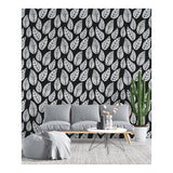Self Adhesive Hand Drawn Black Leaf Vector Removable Wallpaper WW039