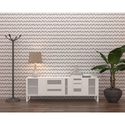 Electric Chevron Modern Tribal Pattern Apartment House Decoration Black Lines Indian Self Adhesive Hand Drawn Removable Wallpaper WW003