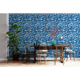 Blue Waves Beach Ocean Sea Atlantic Pacific Marine Wild Life Deco Sand Seaweed Self Adhesive Hand Drawn Removable Wallpaper WW041