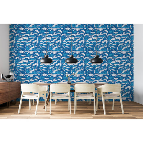 Self Adhesive Hand Drawn Blue Waves Beach Removable Wallpaper WW041